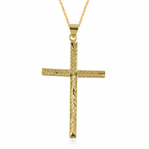 """925 Sterling Silver Cross Pendant Necklace 14K Yellow Gold Over Size 18"""" Jewelry"""