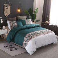 Teal Green Floral Quilt Doona Duvet Covers Set Double Queen King Size Bed Linen