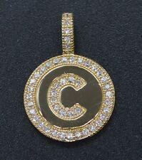 Created Diamond Round Cut Initial Letter C Pendent 14K Yellow Gold A-Z available
