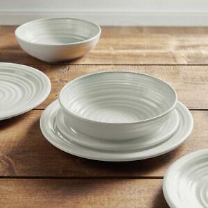 12 Pc Melamine Dinner Set Plates Side Plate Pasta Bowls Outdoor Picnic Tableware