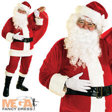 Deluxe Velour Santa Suit Father Christmas Fancy Dress Mens Costume Adult Outfit