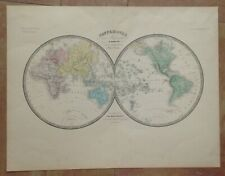 WORLD MAP by BRUE 1860 19e CENTURY LARGE ANTIQUE ENGRAVED MAP