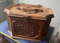 Vintage Max Klein Sewing Box Larger Box Tray Ornate Faux Wood Plastic Storage