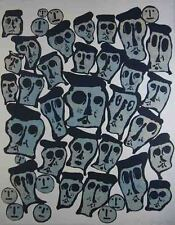 """Donald Baechler """"CROWDS"""" Original Lithograph & Relief Printing S/N"""
