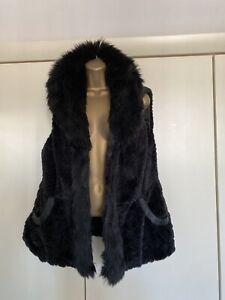 River Island Black Faux Fur Waistcoat Gilet 16 18 XL