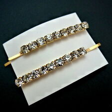 "Set of 2 Gold 2.25"" Rhinestone Crystal Jeweled Hair Clips Bobby Pins Slides"