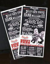 Hank Williams III - 2 VINTAGE 2002 CONCERT TICKETS 3/3rd/ticket/stub/no-cd MINT