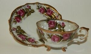 Napco Footed Tea Cup & Scalloped Saucer Set - Blooming Roses Iridescent Edges