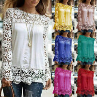 NEW Hot Women Casual Long Sleeve Chiffon Embroidery Lace Blouse Shirt Tops diy