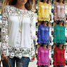 Women Summer Casual Long Sleeve Chiffon Embroidery Lace Blouse Shirt Tops Ladies
