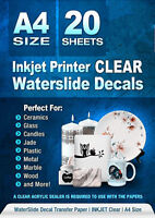 Waterslide Decal Paper Inkjet CLEAR 20 Sheets Water Slide Decal Transfer Paper