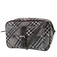 Burberry Blue Label Check Shoulder Bag Gray Brown Nylon Canvas Japan #OO404 O