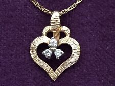 "Vintage Heart Pendant 14K Solid Gold 3 Diamonds and 14K Chain 19"" 2.16 Gr.-799"
