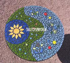 24'' Black Marble Coffee Table Top Mosaic Gemstones Inlay Hallway Outdoor Decor