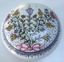 Hand Painted Covered Vanity Box from Portugal Large Round Trinket Box Botanical