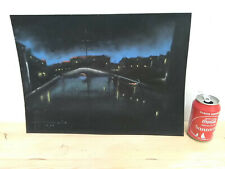 Aveiro at night Signed Painting hand painted unknown artist From Portugal 1964
