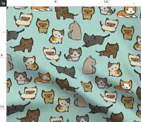 Cats Sky Cat Novelty Kawaii Kittens Siamese Spoonflower Fabric by the Yard