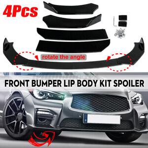 Universal Glossy Black Car Front Bumper Protector Lip Body Spoiler Splitter Kit