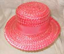 VINTAGE VIVID PINK CLASSIC LACQUERED STRAW HAT SO CHICS S/M WEDDING RACES CHIC