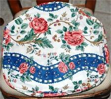 Waverly Garden Room Fabric Floral Chair Pad Set of 2 _ Clean Euc