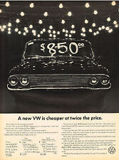 Vintage 1968 Magazine Ad Volkswagen New VW Is Cheaper At Twice The Price
