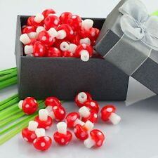 100pc Wholesale Red Mushroom Lampwork Glass Loose Beads