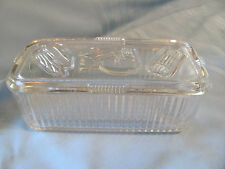 Vintage Federal Glass Refrigerator Box Vegetable 8x4x3 Rectangle w lid