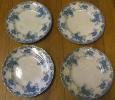 "Antique (4) GLENMERE 9"" PLATES (Floral BLUE w/ gold trim) ALFRED MEAKIN, ENGLAND"
