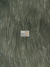 "FAUX FAKE FUR SOLID SHINY TINSEL LONG PILE FABRIC - Gray - 60"" WIDE BY THE YARD"