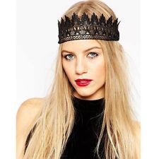 Handmade Adjustable Black Lace Crown Headband Hairband Costume Party Gothic