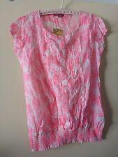DJ&C Princess de Venice Fluro Pink Tropical Blouse BNWT Cotton XL