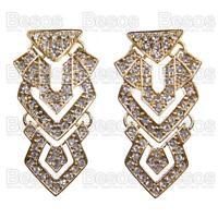 "2""BIG AZTEC geometric TRIANGLE crystal GOLD FASHION EARRINGS glass rhinestone"