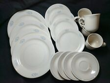 Corelle Sandstone Light Blue Flowers White Lines 16 Pieces Plates Saucers Cups