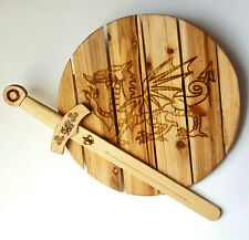 Dragon Wooden Sword and Shield, Free Name Engraving, Hardwood Play Weapons