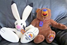 "*2002 WINTER OLYMPICS MASCOTS*16"" PLUSH POWDER THE RABBIT& COAL THE BEAR  TYCO"