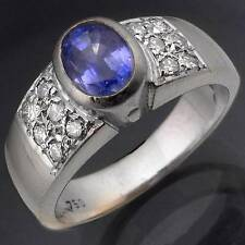 V Fine Cornflower Blue SAPPHIRE DIAMOND 18k Solid White GOLD RING Val=$5050 Sz O