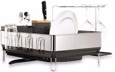 Elegant Dish Rack Drainer Drying Tray Steel Kitchen Sink Wine Glass Holder Decor