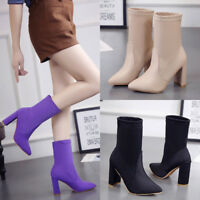 WOMENS LADIES MID HIGH PLATFORM BLOCK HEEL CHELSEA ANKLE BOOTS SHOES SANDALS UK