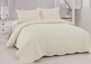 Double Full Quilt Bedspread Hotel Style Off White Ivory With Shams Set   SPECIAL