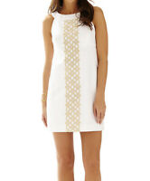 Lilly Pulitzer Dress 12 White Gold A Line Shift Jacqueline Embroidered Cotton