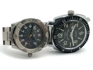 LOT OF 2 SCUBA by PAUL GARNIER DIVER 200M SWISS ARMY STAINLESS STEEL Not Running