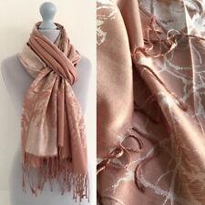 Large Rose Gold Pashmina Scarf Wrap Evening Shawl Long Plain Reversible Cotton
