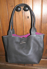 Brown leather tote bag, reversible pink suede, suede purse