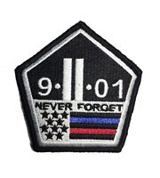 Thin Red and Blue Line 9/11 NEVER FORGET PATCH Hook/loop Morale Twin Towers
