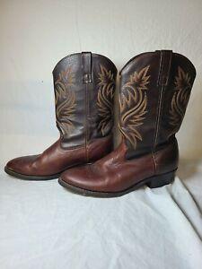 MENS BROWN LEATHER LAREDO 4243 COWBOY BOOTS SIZE 11.5 E  11 1/2 E WIDTH