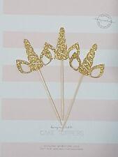 12x unicorn cupcake toppers, gold glitter (horn & ears)