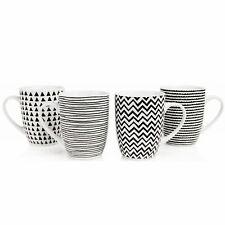 4 PIECE SABICHI PORCELAIN TEA COFFEE MUG SET GEO SKETCH QUALITY DISHWASHER URBAN