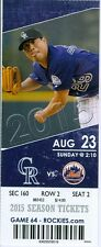 2015 Rockies vs Mets Ticket: Logan Verrett 1st MLB win/Carlos Gonzalez hit HR