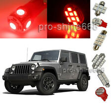 Red SMD LED Interior 9PCS Plate Lights Package for Jeep Wrangler 2007 2014