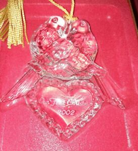"2002 ""Our First Christmas"" Ornament Doves Gorham Full Lead Crystal Germany Mint"